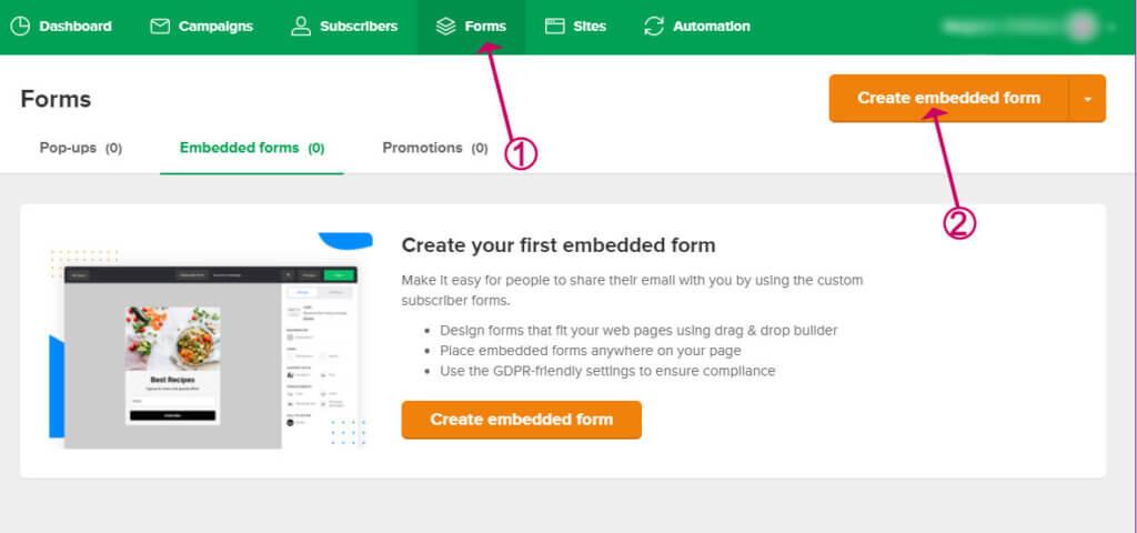 create an embedded form in mailerlite