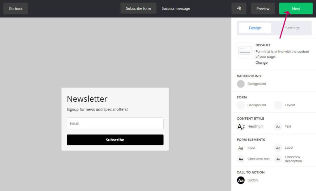 design your mailerlite form