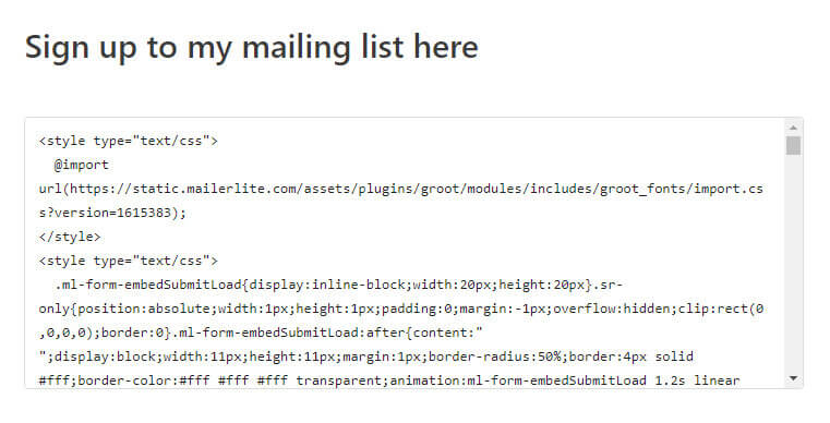 embed mailerlite form code into post