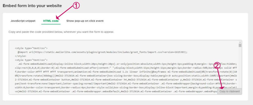 grab the mailerlite embed code